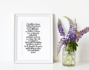 Christian Gifts | Our Father | The Lord's Prayer | Wall Art | Make Today Beautiful