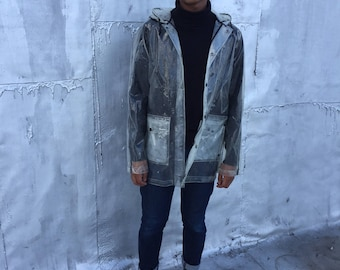 Men's Clear Transparent PVC Raincoat. Size S/M
