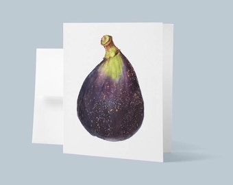 Greeting Card with Envelope, Botanical Art Card, Purple Fig Watercolor Painting, Blank Card, Original Painting, Fruit Art