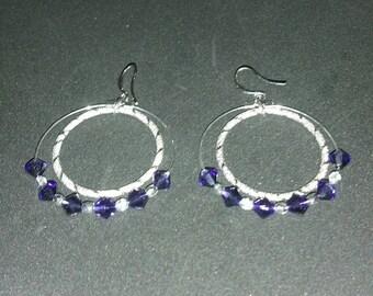 0281-Silver Hoop Earrings with Purple Velvet Swarovski Crystals