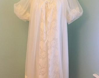 Miss Elaine Off White Chiffon Peignoir Set