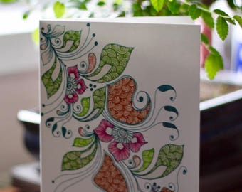 Floral Henna Inspired A6 Greetings Card