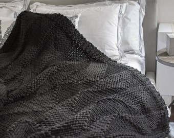 Knit Throw Blanket - 100% Wool