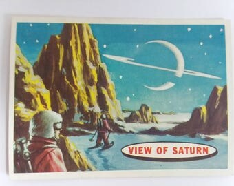 View Of Saturn Topps Target: Moon Trading Card Number 83 of 88 1958 Salmon Back Non Sports Atomic Age Mid Century Collectible Art Epoch Echo