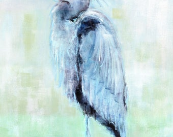 Blue Majesty: Fine art giclee blue heron print from original blue heron painting