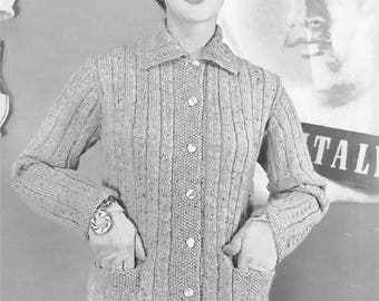 Vintage Women's Mock Cable Button-Up Collared Jacket Knitting Pattern PDF 1954