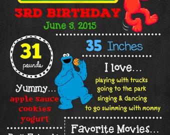 Sesame Street Birthday Chalkboard Poster - Elmo Cookie Monster Wall Art design - Birthday Poster Sign - Any Age
