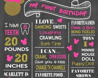 Minnie Mouse Birthday Chalkboard Poster - Disney Minnie Mouse Wall Art design - Birthday Party Poster Sign - Any Age