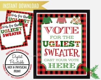 Ugly Sweater Christmas Party, Tacky Sweater Party, vote for the ugliest sweater sign, Printable, Vote for the ugliest Sweater Ballot