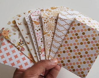 Set of 8 pink and gold envelopes //Gift Card Envelopes //Business Card Holder //Mini Envelopes //Scrapbooking Envelopes// Coin Envelopes