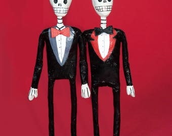 Wedding cake topper, Gay couple, Handmade skeleton paper mache figure, Day of the dead, Gay Wedding, Mexican Folkart, Bridal Gift