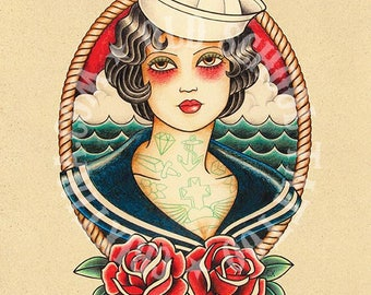 Seafaring woman. Old School Tattoo print.
