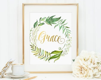 Personalized Name Art, Grace, Gold Letter Print, Custom Name, Baby Girl Name, Kidds Room Decor, Nursery Decor, Floral Wreath, Baby Shower