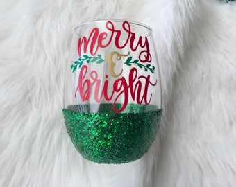 Merry & Bright Glitter Dipped Wine Glass // Christmas Wine Glass  // Glitter Wine glass //