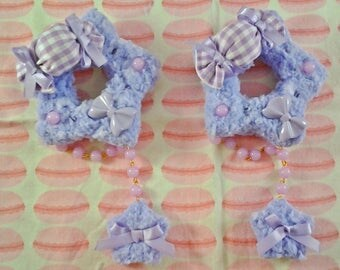 Lavender Cotton Candy Fluffy Sweet Star Two-Way Hair Clip/Pin
