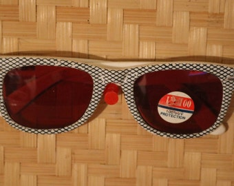 Vintage Black and White Checked Sunglasses w/Red Lenses