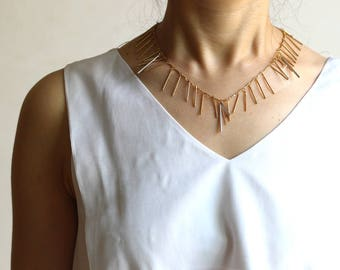 Gold Fringe necklace with silver bars • Gold bar necklace • Gold bar choker • Silver bar necklace • Silver bar choker • Gold fringe choker