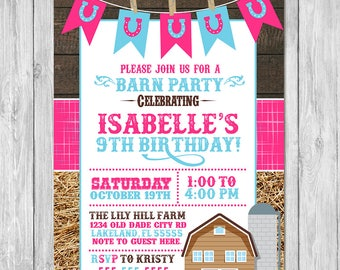 Western Barn Birthday Invitation - Barnwood Birthday Invite - Western Cowgirl Invite - Horseshoe Birthday Invite - Barn Party - Farm Party