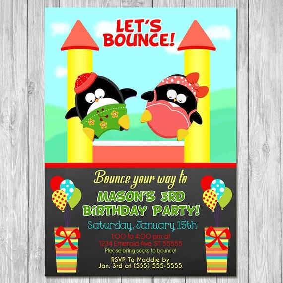 Bounce House Party Invitation Birthday | Chalkboard Penguins | Bounce Birthday Party Invite | Jumping Birthday Party | Bounce Castle Invite