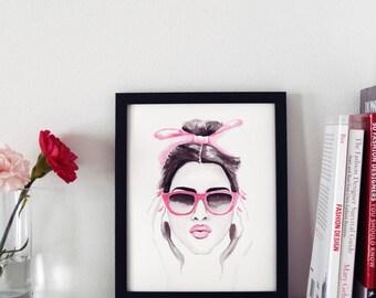 Pink Sunglasses Print, Fashion Illustration, Watercolor Print, Art Print, Fashion Accessories Print, Home Decor, Office Decor, 8x10
