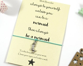 Wish Bracelet - Mermaid Bracelet - Mermaid Wish Bracelet - Mermaid Gifts - Friendship Bracelet - Mermaid Party Favors - Mermaid Jewelry