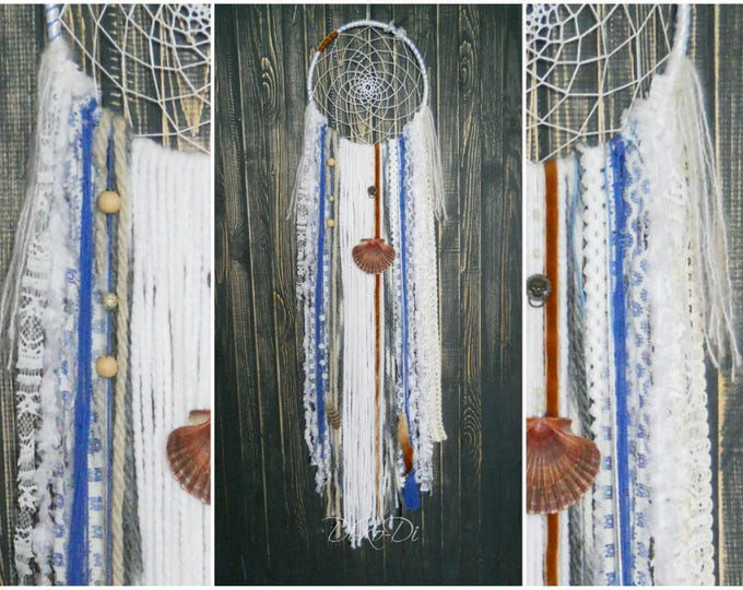 Large dream catcher white Extra wall hanging Boho dreamcatcher blue white Home living dreamcatcher large bohemian decor Gigantic dreamcatcer