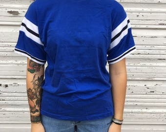 90s Style Gap Blue White Black Athletic Ringer Football Short Sleeve Striped Tee Shirt - Small