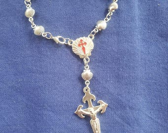 Camino de Santiago One Decade Rosary / St James / Clasp for Bracelet / Pilgrim / Compostela / Catholic / Scallop Shell / Zamak / Crucifix