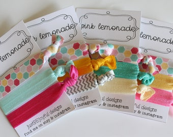 Pink Lemonade - No Crease Hair Tie - Party Favors - Soft Hair Tie - Workout Hair Tie