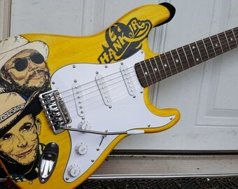 Hand Painted Hank Williams Guitar