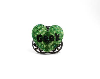 Geek resin ring glitter