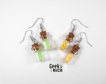SALE 50% Geek - brick vials earrings