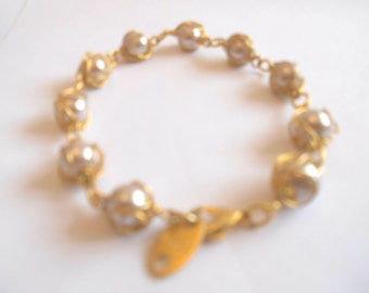 Vintage RARE Find Collectible Biche De Bere French Designer Bracelet *Gold and Pearl*
