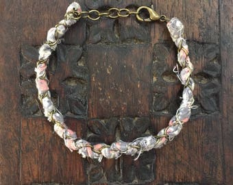 Fabric and Chain Bracelet