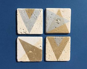 Metallic Gold and Silver Geometric Coasters [set of 4]