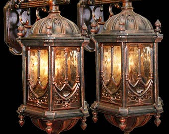 Rare Pair of 19th Century Cast Iron Gothic Revival Sconces