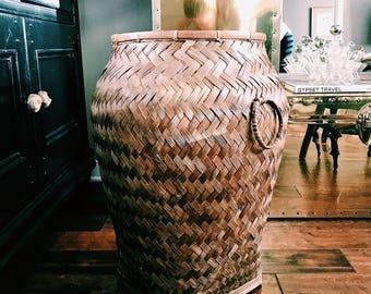 SALE // Oversized Vintage Rattan Basket / Boho Storage Basket / Large Blanket Basket