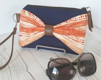 Bow Wristlet - Orange Navy Blue Wristlet Wallet - Bow Bag - Womens Wallet - Faux Leather - Small Crossbody - Phone Wallet - Wristlet Purse