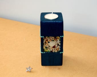 Tea light Candle holder sea shells water effect