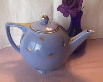 Vintage 1930s Hall Blue Teapot, Gold Stars Cadet Blue Teapot
