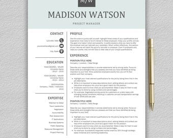Professional Resume Template / CV Template for Word + Cover Letter | Modern Resume Template | Resume Template Instant Download | Creative CV