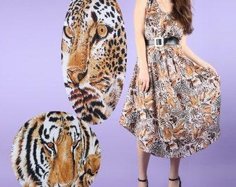 Lions and Tigers and Cheetahs, Oh My! Feline Animal Cat Print Midi Dress