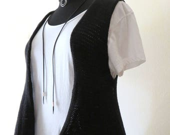 Black Asymmetric Cotton Vest, Summer Vest, Boho Style, Women's Vest