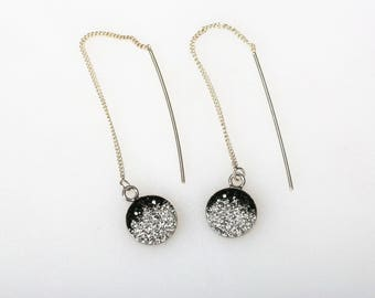 Round Radience Pave Threader Earrings, Sterling Silver, Swarovsky Crystals, Black Gradational Pattern, Adjustable Length of Dangle Earrings