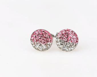 Sterling Silver Pave Radience Stud Earrings, Swarovsky Crystals, Half and Half, Light Rose(Pink) and Crystal, Unique Style Stud Earrings.