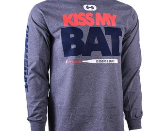 Kiss My Bat Long Sleeve Softball T-Shirt, Fastpitch Softball Shirts, Softball Gift, 2 Colors - Free Shipping!