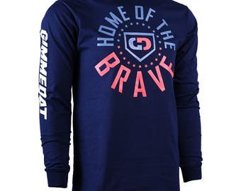 Home of the Brave Long Sleeve Baseball T-Shirt, Baseball Shirts, Baseball Gifts - Free Shipping!