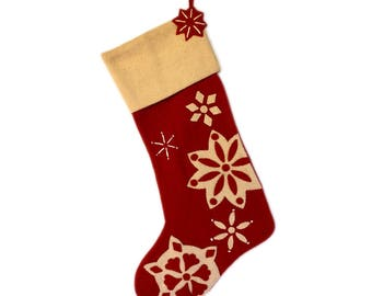 Snowflake appliqué felt stocking