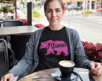 Mama Bear Shirt, Women Tees, Mother T-shirt, Wife Clothes, Gift for Mom, Funny Women Clothing