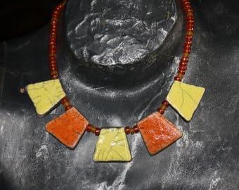 Necklace raku, orange and yellow glass beads